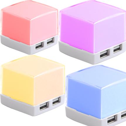 """USB-Хаб на 4 порта """"Sugar"""", с разноцветной подсветкой"""