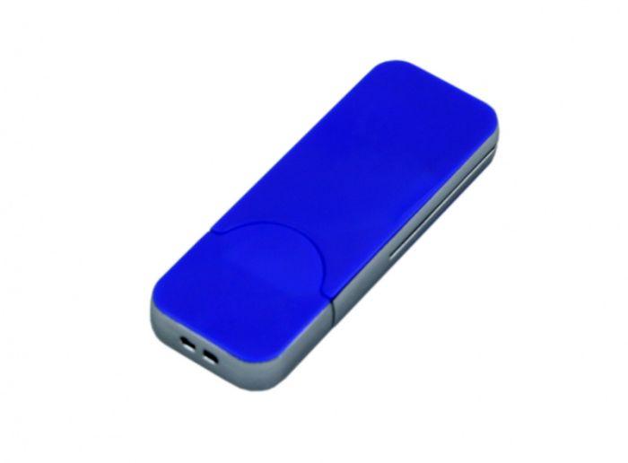 USB-Flash накопитель (флешка) в стиле I-phone, модель I-phone_style, прямоугольной формы, объем памяти 64 Gb, цвет синий