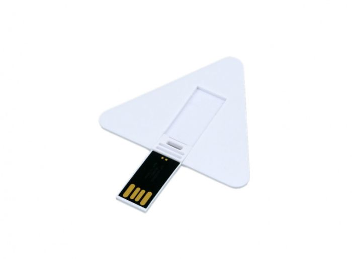 Флеш-накопитель в виде пластиковой карточки треугольной формы.16 Гб. Цвет белый, USB2.0
