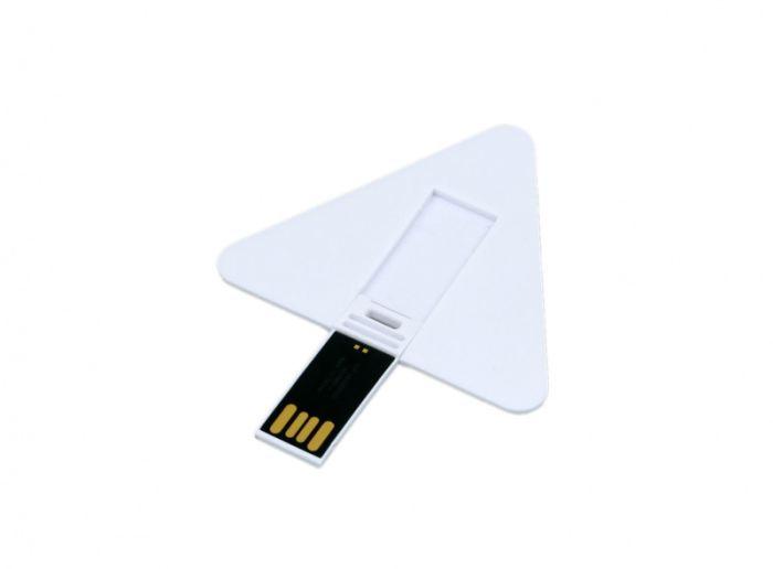 Флеш-накопитель в виде пластиковой карточки треугольной формы .32 Гб. Цвет белый, USB2.0
