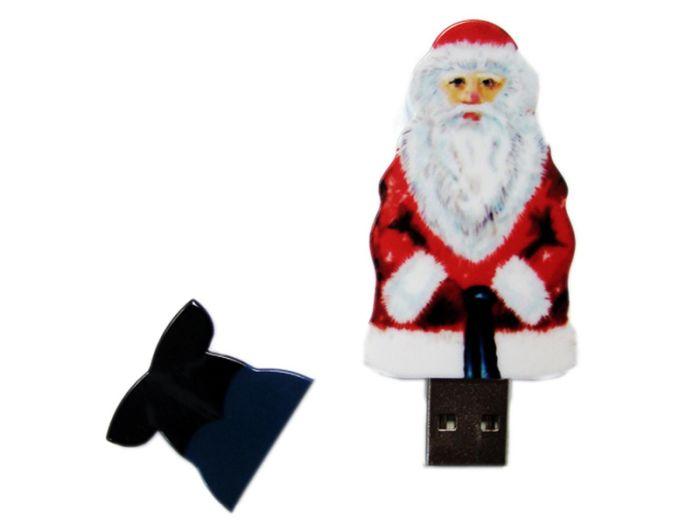 USB-Flash накопитель (флешка)  из пластика, модель Santa, объем памяти 128 Gb, цвет белый