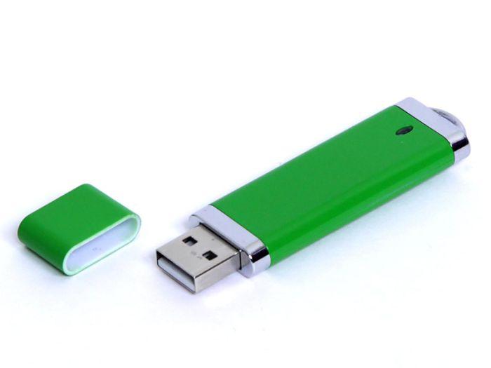 USB-Flash накопитель (флешка) из пластика классической прямоугольной формы, модель 002, объем памяти 128 Gb, цвет зелёный