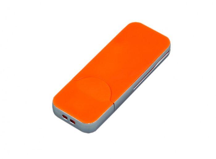 USB-Flash накопитель (флешка) в стиле I-phone, модель I-phone_style, прямоугольной формы, объем памяти 128 Gb, цвет оранжевый