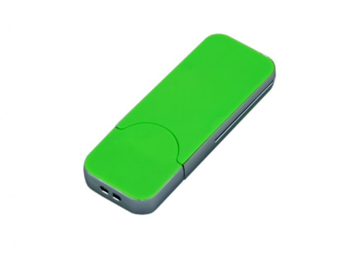 USB-Flash накопитель (флешка) в стиле I-phone, модель I-phone_style, прямоугольной формы, объем памяти 128 Gb, цвет зелёный