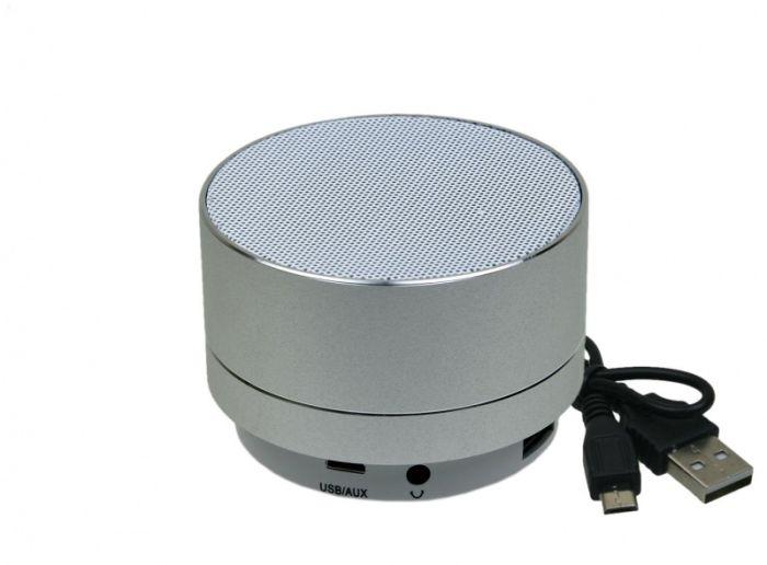 Bluetooth колонка SPM-01, металлический корпус, круглая форма, цвет серебристый