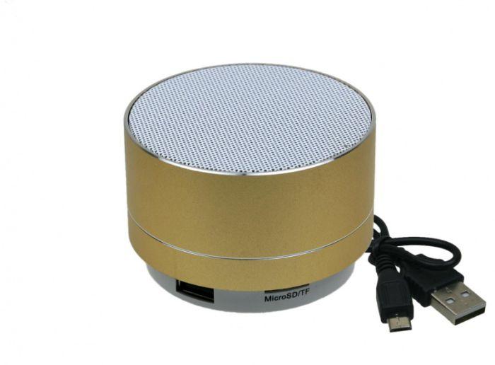 Bluetooth колонка SPM-01, металлический корпус, круглая форма, цвет золотистый