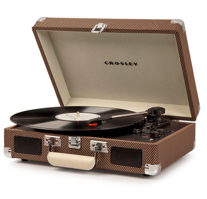 Виниловый проигрыватель CROSLEY CRUISER DELUXE Tweed c Bluetooth, цвет коричневый с бежевым