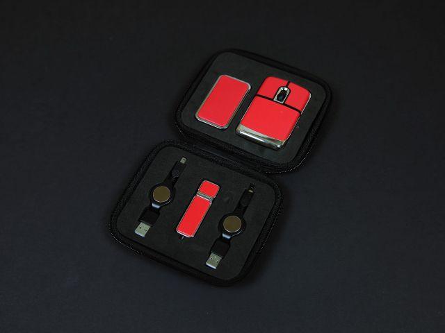 Подарочный набор USB-SET в кожанном исполнении в коробочке, красный