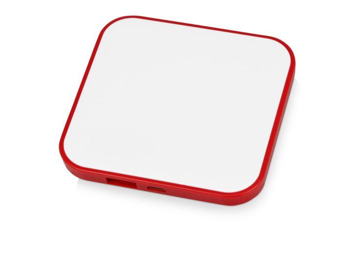 """Портативное зарядное устройство """"Квадрум"""", 2600 mAh, цвет белый с красным"""