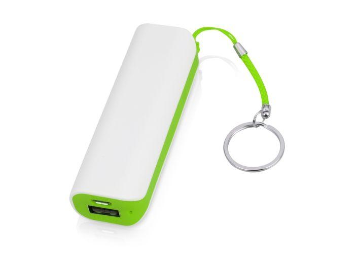 """Портативное зарядное устройство """"Basis"""", 2000 mAh, цвет белый/зелёное яблоко"""