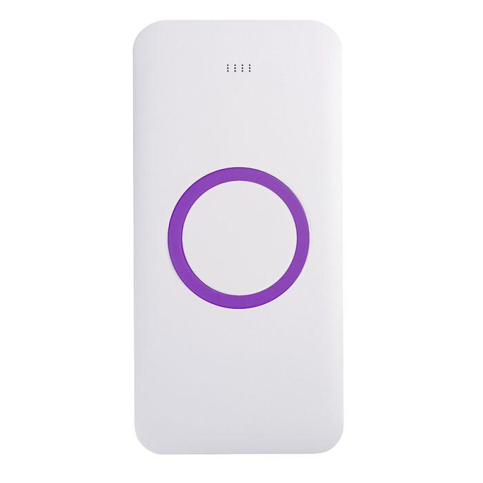 Универсальное зарядное устройство (8000mAh) с функцией беспроводной зарядки SATURN, цвет белый с фиолетовым