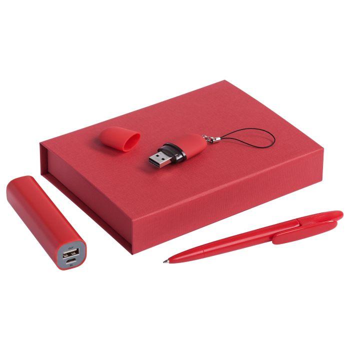 """Набор """"Bond"""": аккумулятор, флешка и ручка, красный"""