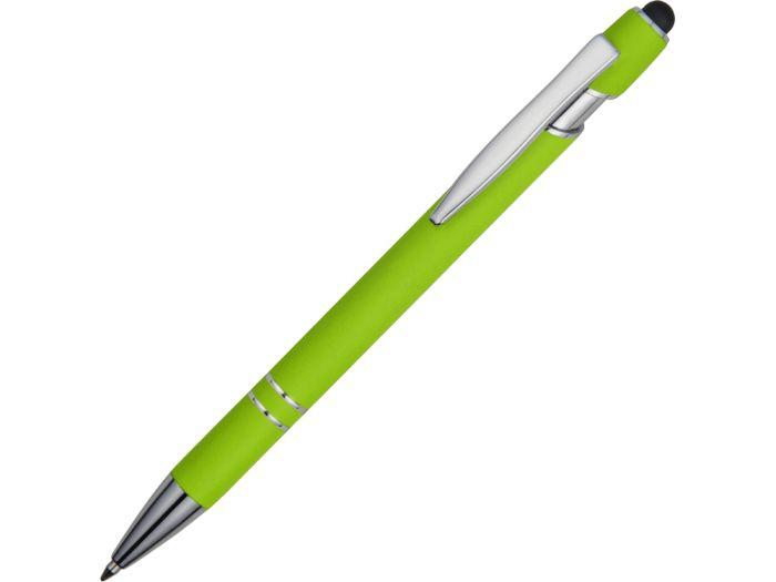 Ручка металлическая soft-touch шариковая со стилусом Sway, зеленое яблоко/серебристый