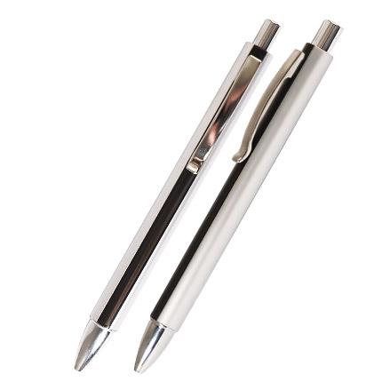 """Ручка шариковая пластиковая """"Кота"""", серебристый корпус с черной полосой, клип, кнопка, наконечник хромированные."""