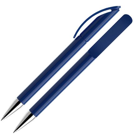 Ручка шариковая Prodir, модель DS3 TPC, с хромированным металлическим наконечником, цвет корпуса синий