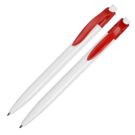 """Ручка пластиковая шариковая """"Какаду"""", цвет белый с красным"""
