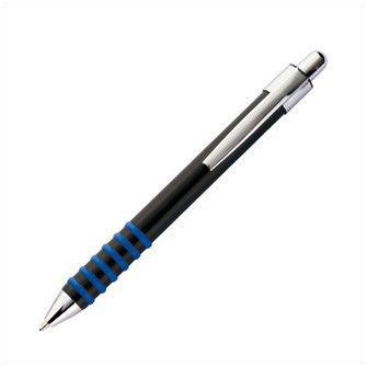 Металлическая ручка, корпус черный с резиновыми кольцами голубого цвета