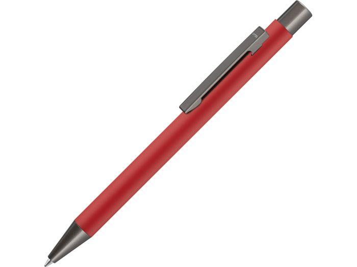 """Ручка металлическая шариковая """"STRIGHT GUM"""" с покрытием SOFT TOUCH с зеркальной гравировкой, цвет красный"""