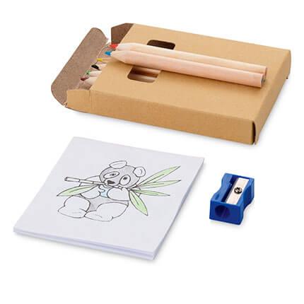 """Набор для рисования """"Cole"""": 6 цветных карандашей, точилка и раскраска"""