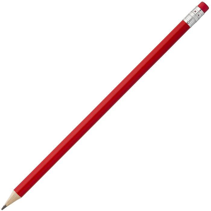 Карандаш простой Hand Friend с ластиком, корпус деревянный цилиндрический красный