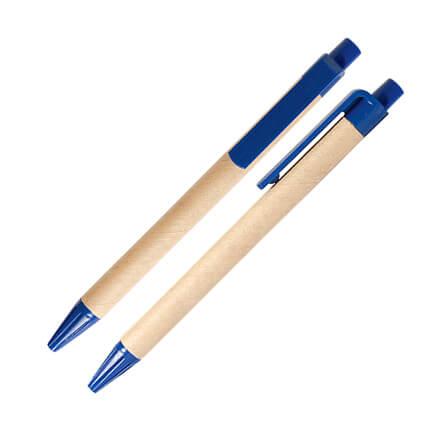 Шариковая ЭКО ручка из картона с пластиковой кнопкой, клипом и наконечником, синяя