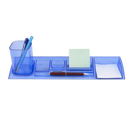 """Подставка-лоток со съемным стаканом для пишущих принадлежностей и канцелярских мелочей """"Quadro"""", цвет прозрачный синий"""