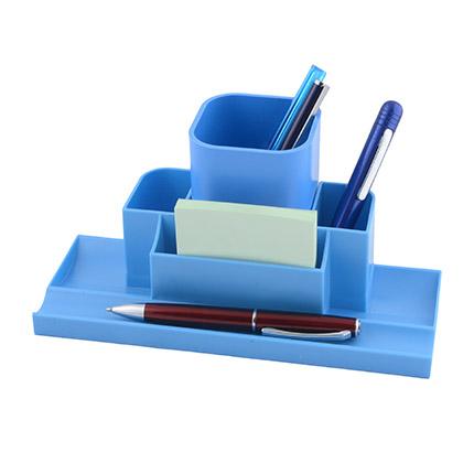 """Настольный органайзер со съемным стаканом для пишущих принадлежностей и канцелярских мелочей """"Quadro"""", цвет синий"""