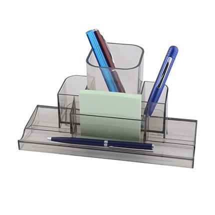 """Настольный органайзер со съемным стаканом для пишущих принадлежностей и канцелярских мелочей """"Quadro"""", цвет прозрачный дымчатый"""