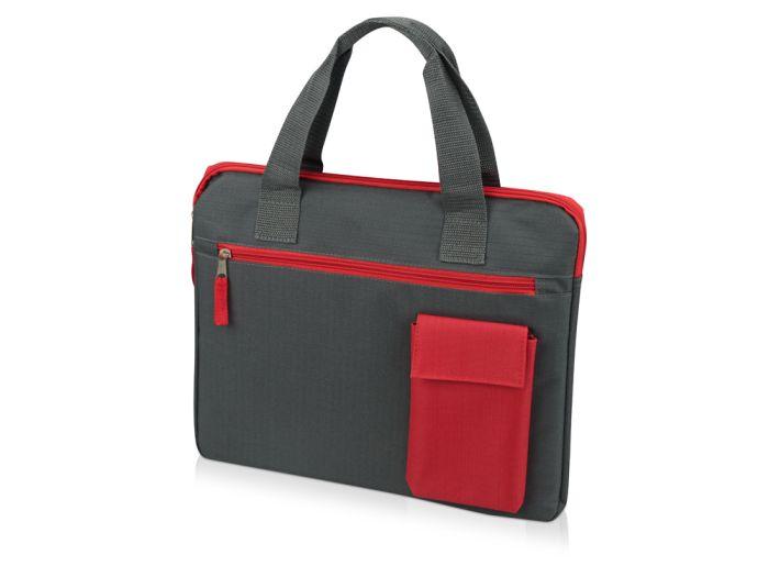 """Конференц сумка для документов """"Session"""", цвет серый с красным"""