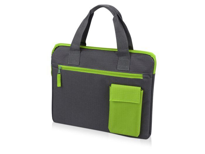 """Конференц сумка для документов """"Session"""", цвет серый с зелёным"""