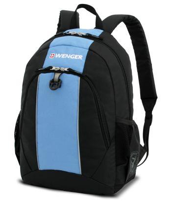 Рюкзак WENGER (20 л), чёрный с синими вставками