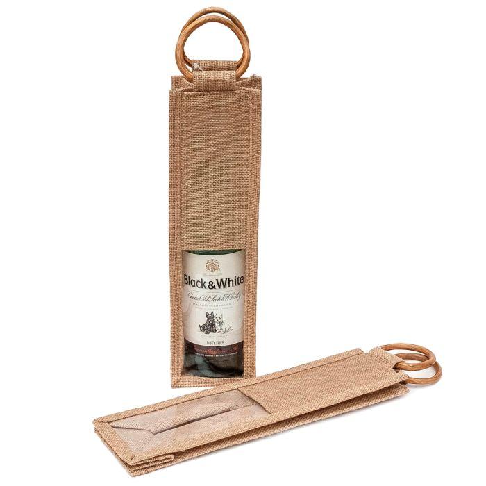 Джутовая сумка для бутылок с ручками из бамбука