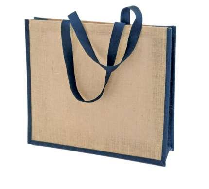 Сумка холщовая для покупок Bagari с синей отделкой