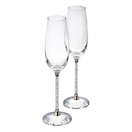 Бокалы для шампанского Crystalline с белыми кристаллами Swarovski