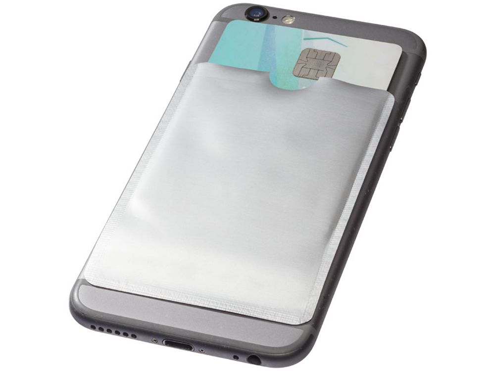 Бумажник для карт с защитой от сканирования (RFID), для смартфона, цвет серебристый