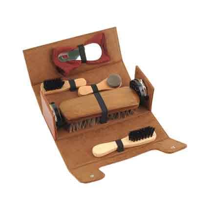 Набор аксессуаров для чистки обуви в футляре, из 8 предметов, коричневый
