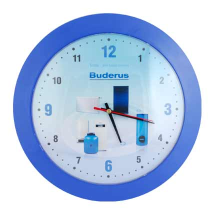 Часы настенные пластиковые, модель 05, диаметр 305 мм, стекло пластиковое гнутое в форме линзы, кольцо - пластик синий
