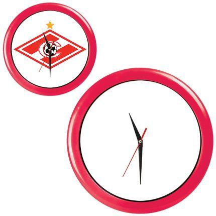 """Часы настенные """"ПРОМО"""" разборные, D=28,5 см, пластик/стекло, цвет обода красный"""
