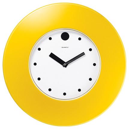 Часы настенные пластиковые, модель 55, диаметр 375 мм, стекло пластиковое, кольцо- пластик шириной 78 мм, цвет жёлтый