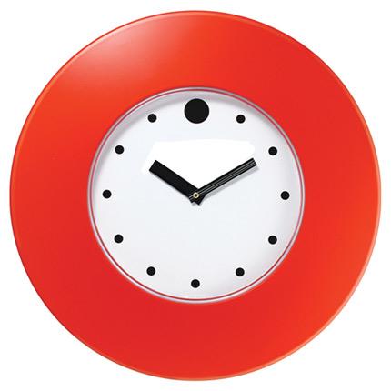 Часы настенные пластиковые, модель 55, диаметр 375 мм, стекло пластиковое, кольцо- пластик шириной 78 мм, цвет красный