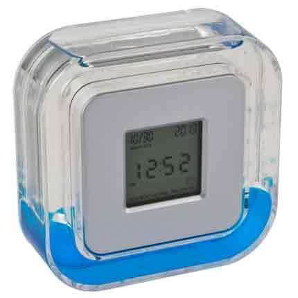 Настольные многофункциональные часы в пластиковом корпусе с голубой жидкостью