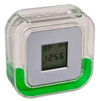Настольные многофункциональные часы в пластиковом корпусе с зеленой жидкостью
