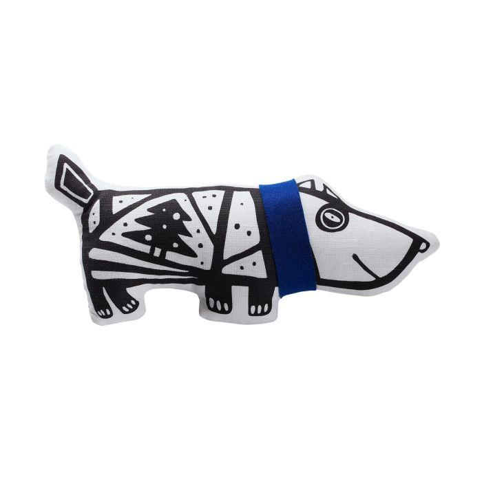 """Игрушка """"Собака в шарфе"""", малая, белая с синим"""