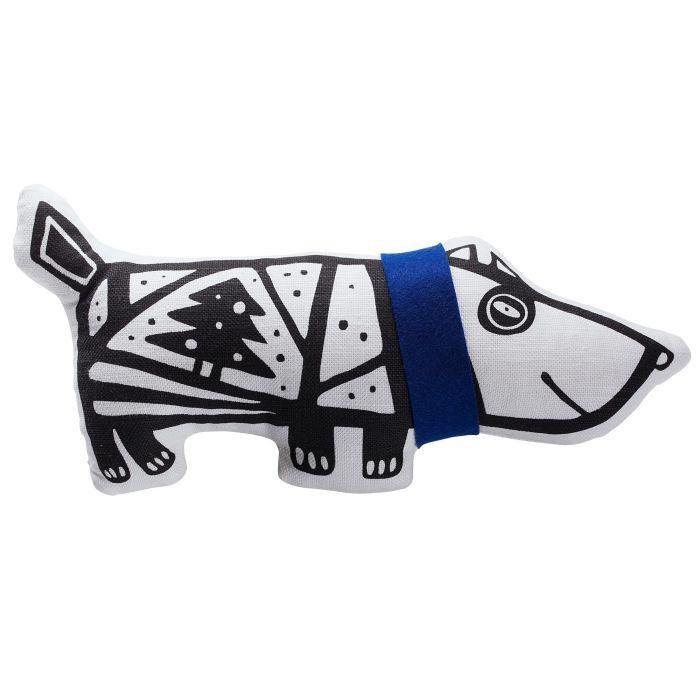 """Игрушка """"Собака в шарфе"""", большая, белая с синим"""