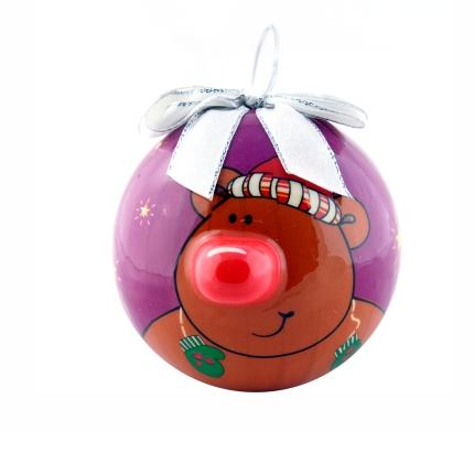"""Елочный шарик """"Мишка"""", 80 мм, фиолетовый с серебряным бантом"""
