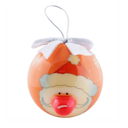"""Елочный шарик """"Санта"""", 80 мм, оранжевый с серебряным бантом"""