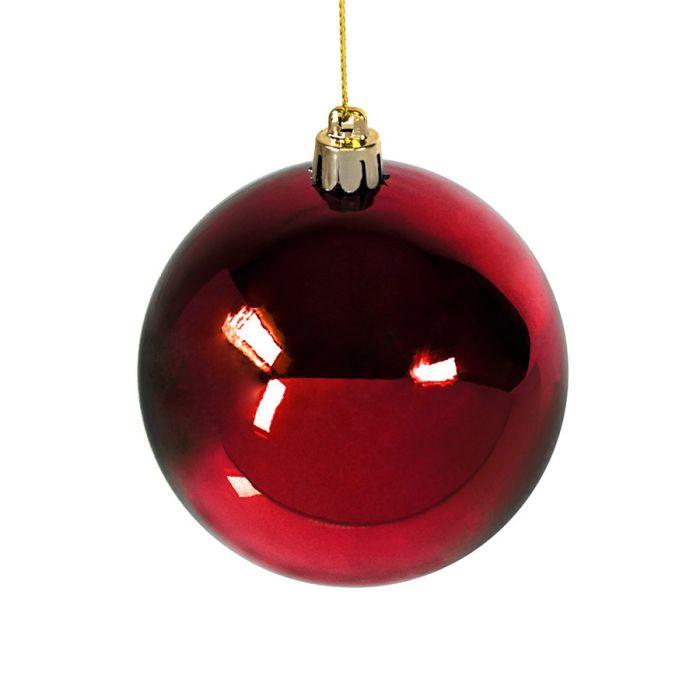 Шар новогодний GLOSS, диаметр 8 см, цвет красный