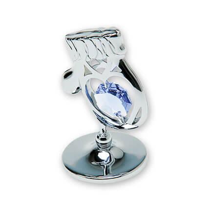 "Миниатюра Crystocraft ""Варежка"" на подставке, с синими кристаллами, серебристого цвета"