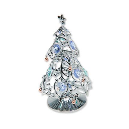 """Миниатюра Crystocraft """"Новогодняя ель"""" на подставке, с синими кристаллами, серебристого цвета"""