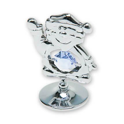 "Миниатюра Crystocraft ""Санта Клаус"" на подставке, с синими кристаллами, серебристого цвета"